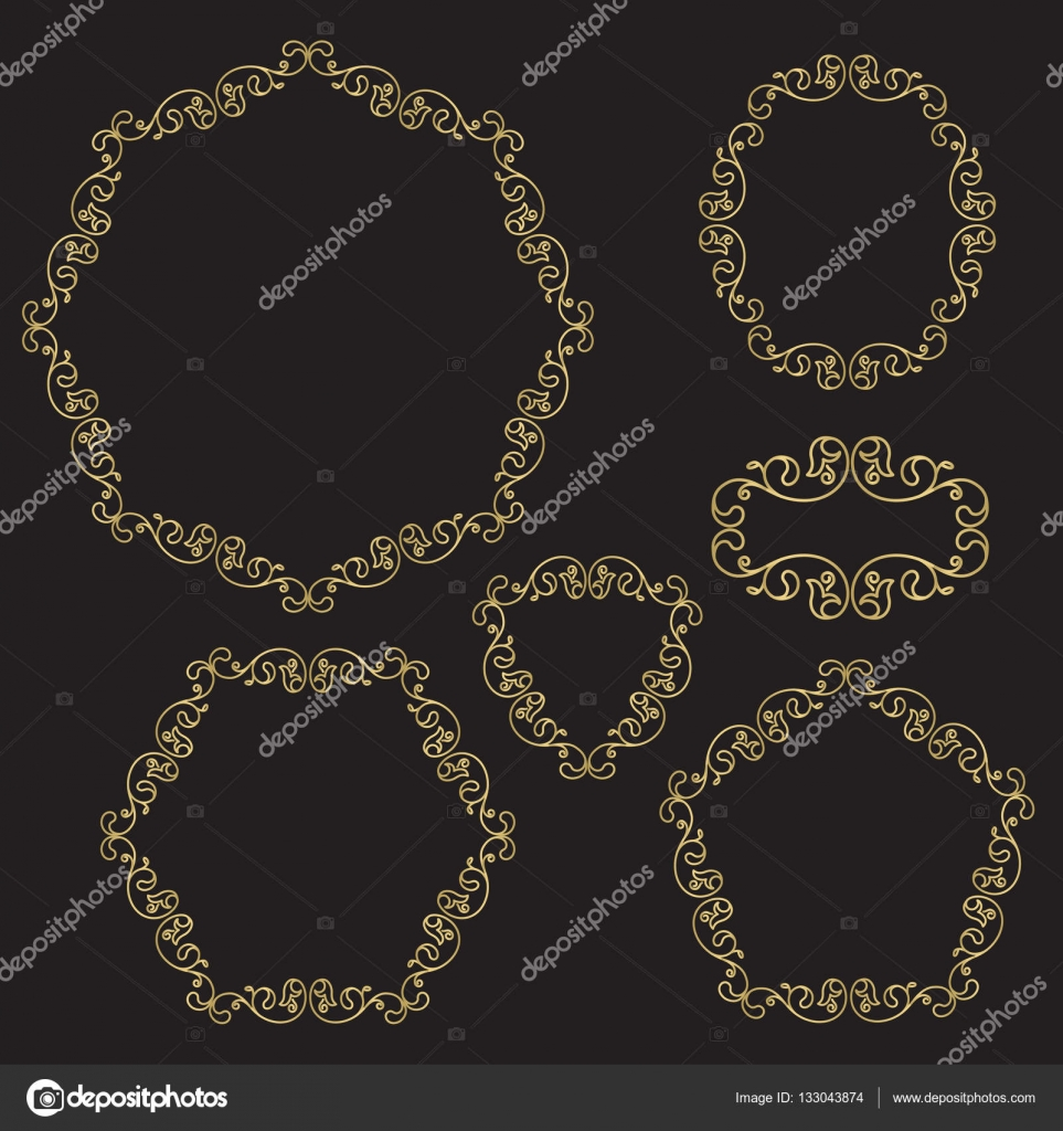Conjunto de bordes decorativos, marcos de línea arte filigrana ...