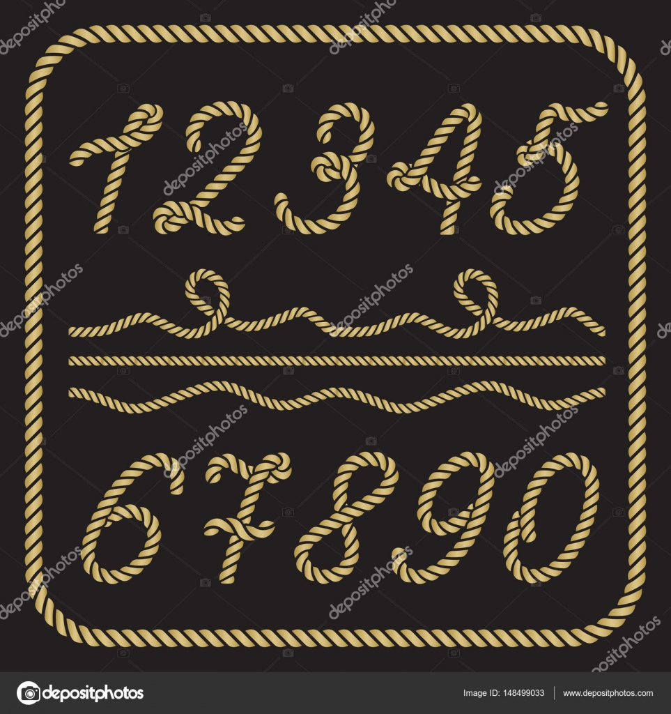 Gold numbers made from nautical rope — Stock Vector © werta