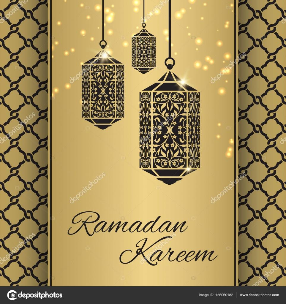 Ramadan Kareem Greeting Card With Fanous Ramadan Lantern And S