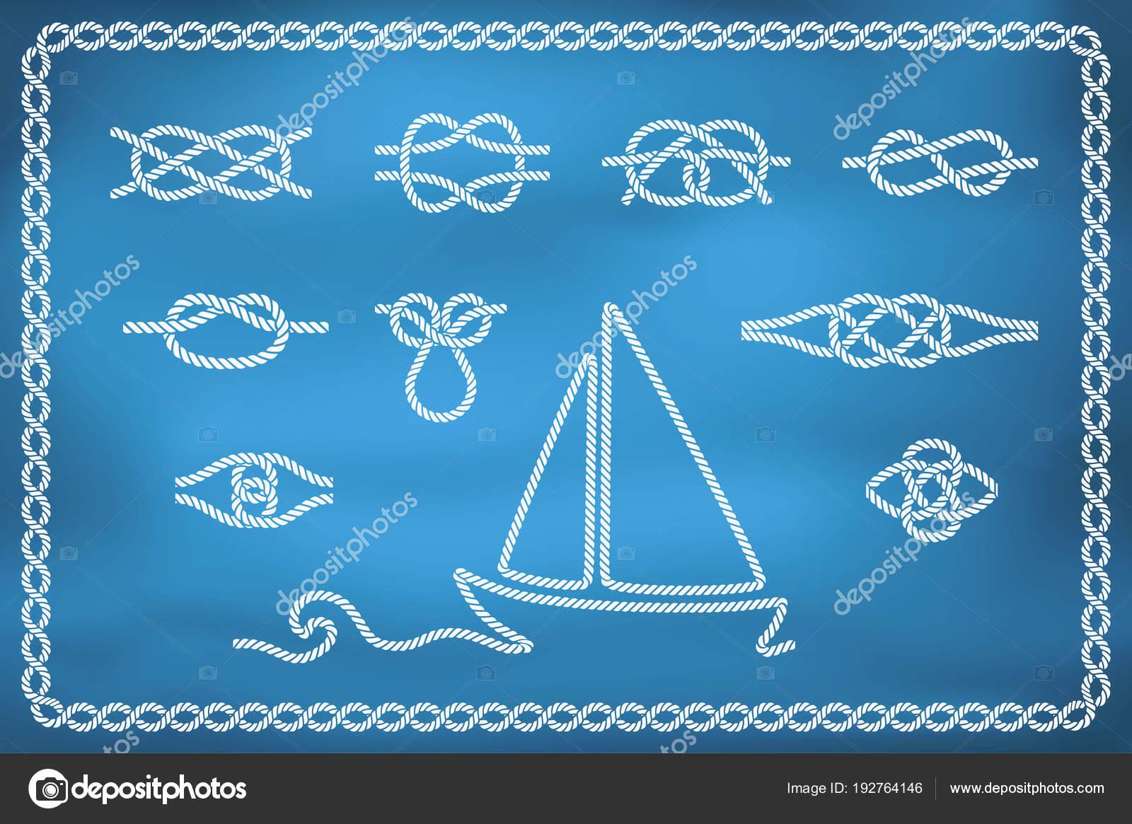 Conjunto de nudos de cuerda náutica — Vector de stock © werta.w ...