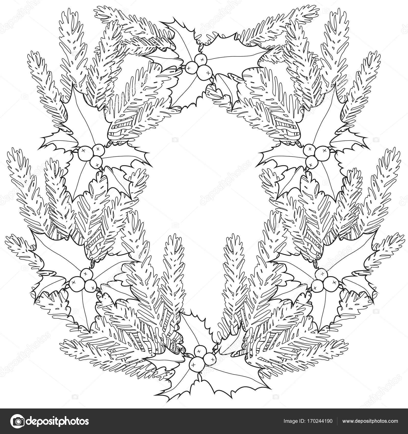 Schwarz / weiß Poster mit Stechpalme Beeren und Äste — Stockvektor ...