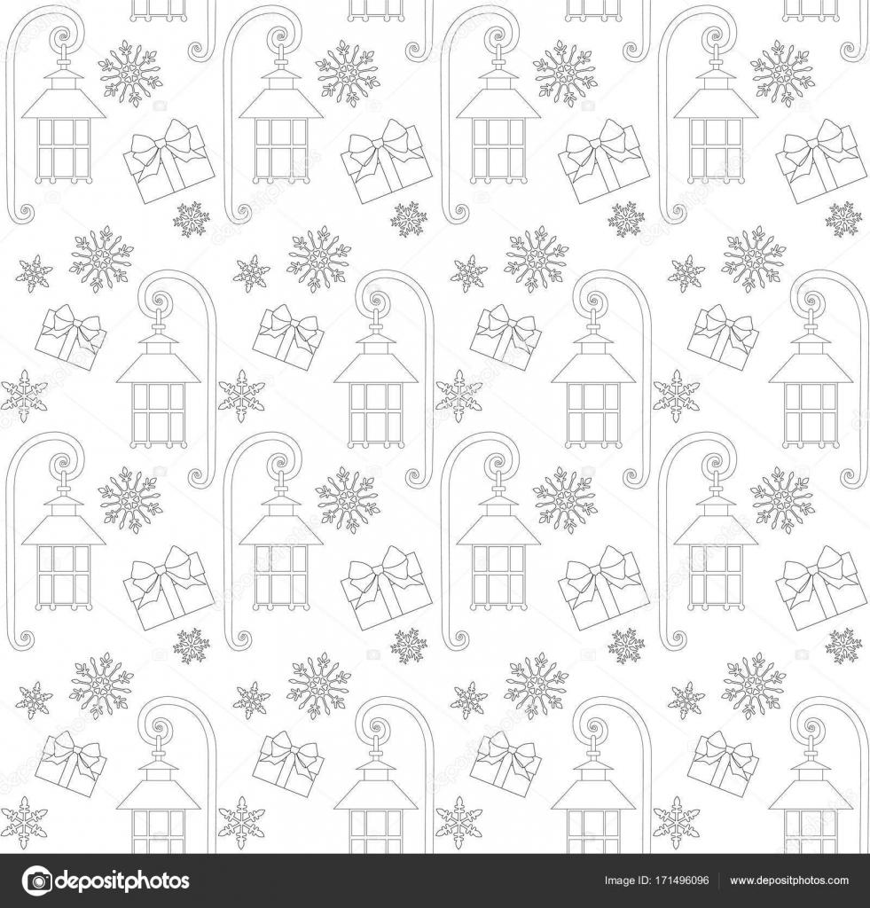 Weihnachten Musterdesign mit Geschenk-Box, Straße Laterne und ...