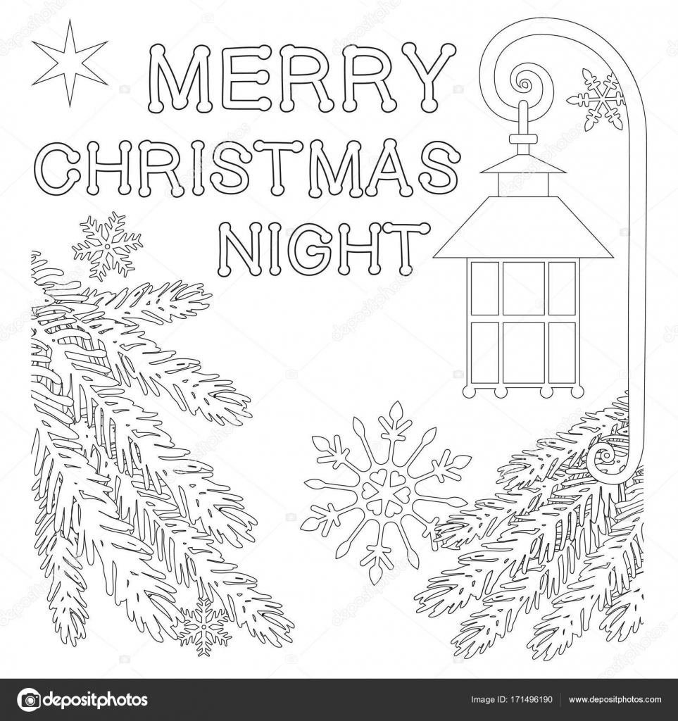 Cartel noche de feliz Navidad con estrella solitaria, calle linterna ...
