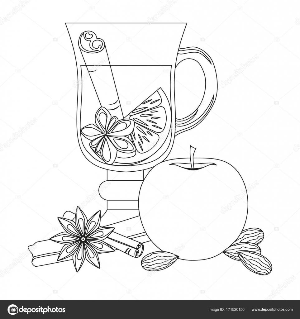 горячее вино черно белые векторные плакат на белом фоне