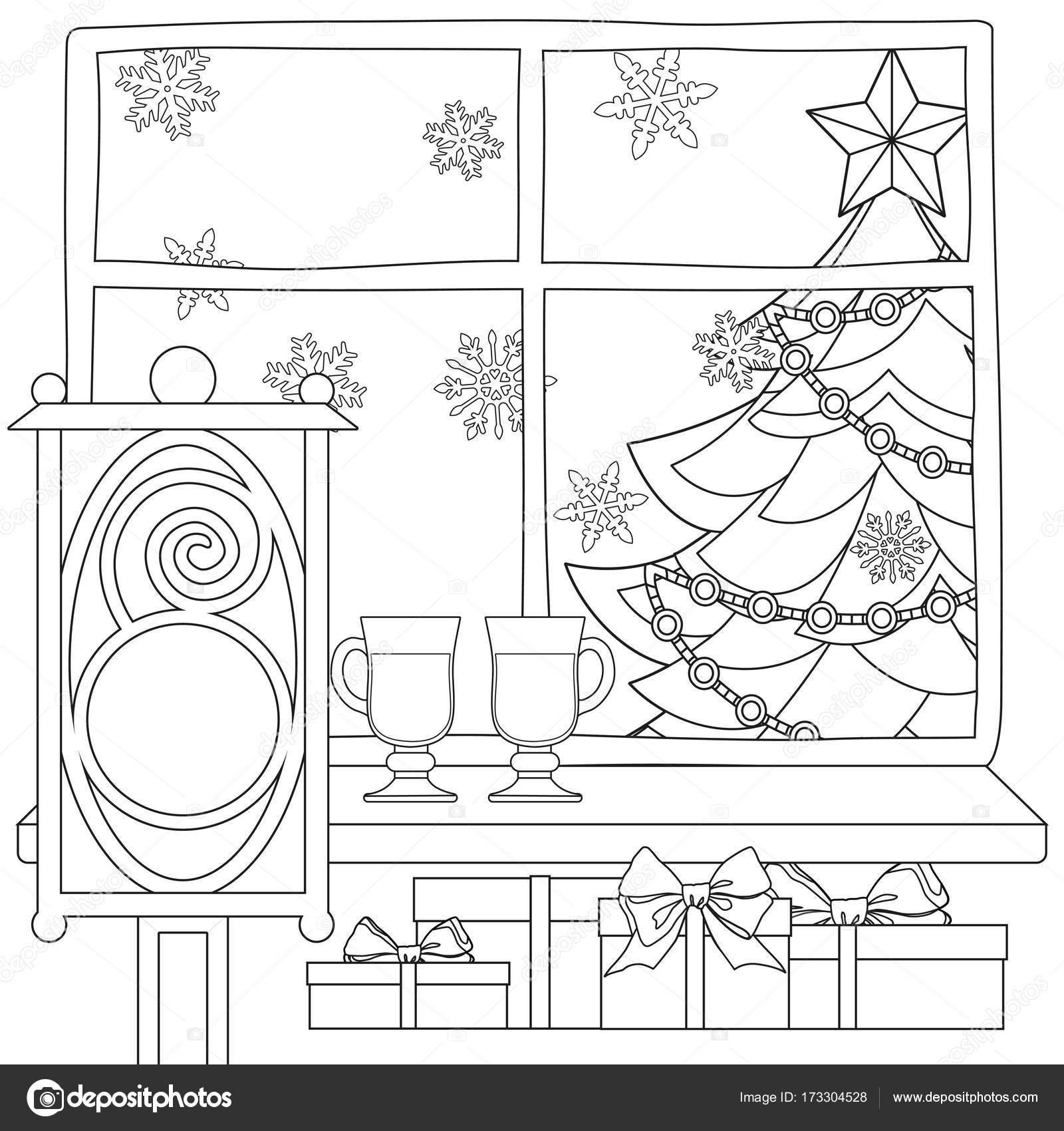 Cartel de tema de Navidad con árbol de Navidad, estrellas, guirnalda ...