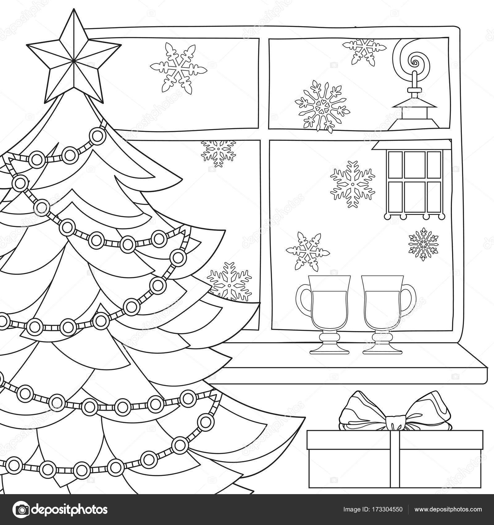 Cartel del tema de Navidad con árbol de Navidad, estrella, guirnalda ...