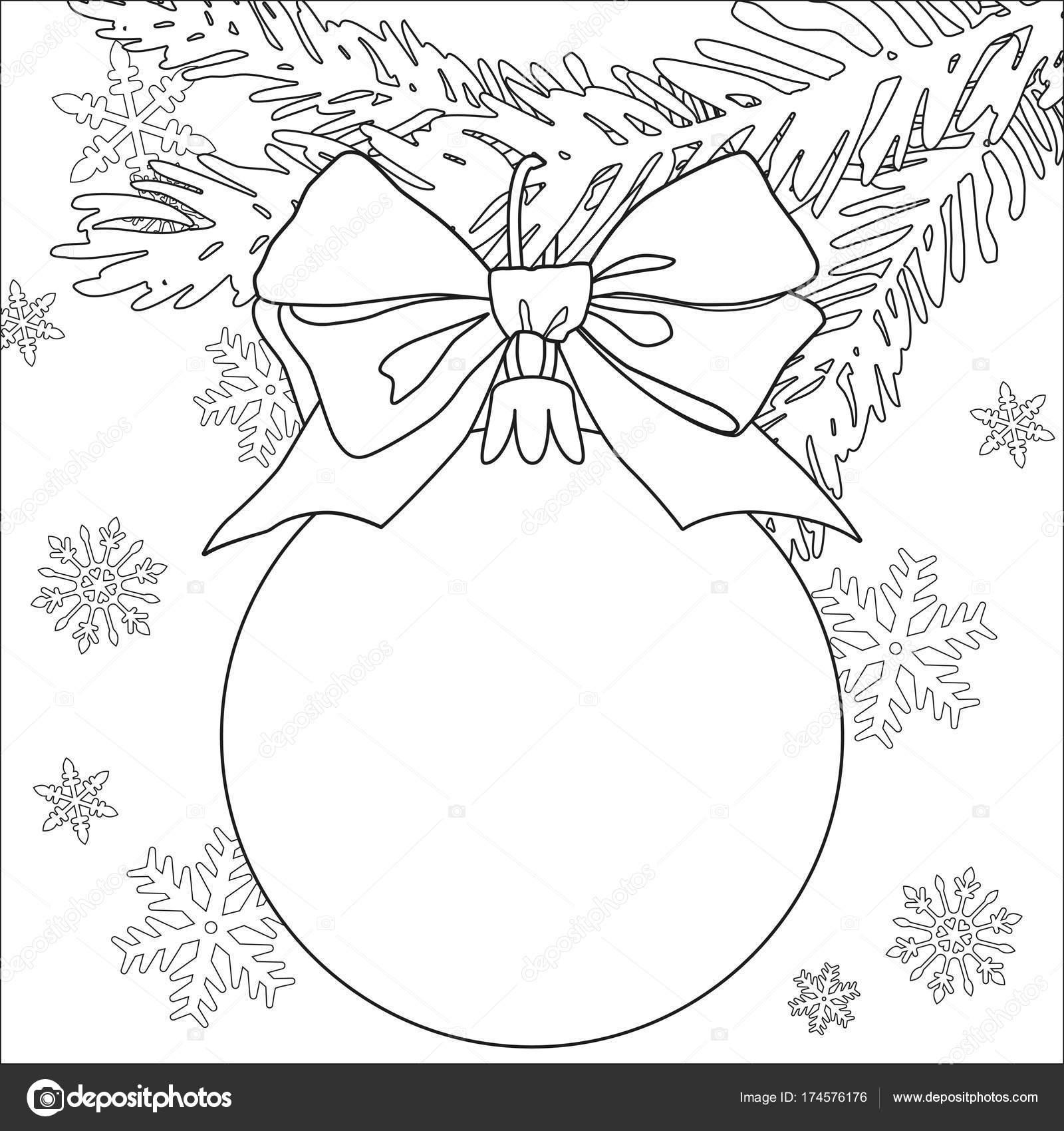 Cartel de tema blanco y negro de Navidad con rama de árbol, adornos ...