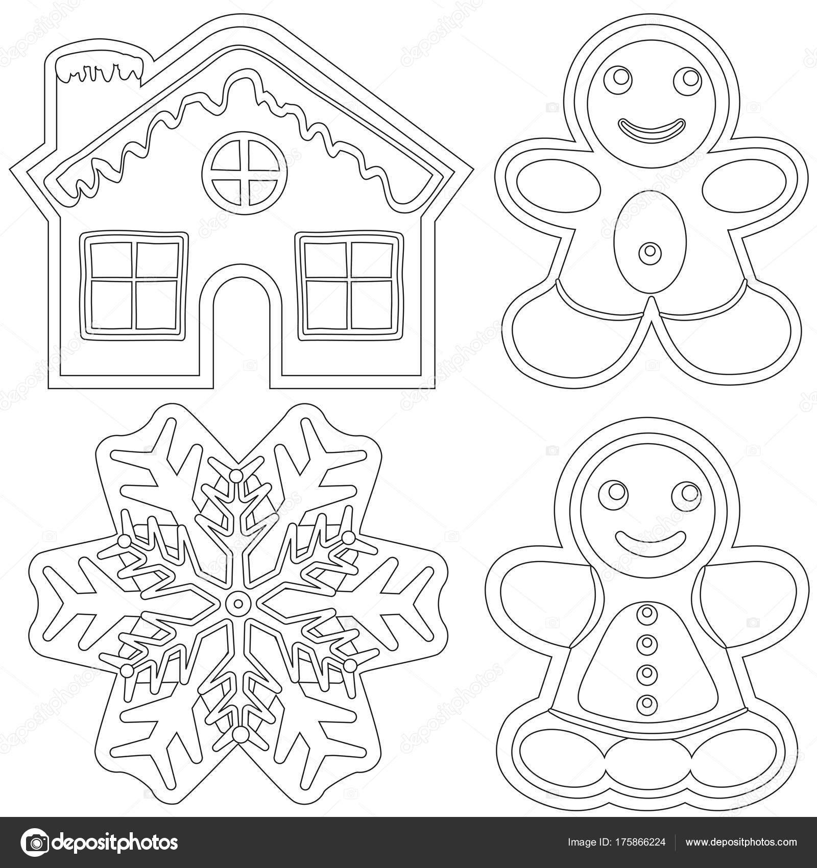 Lebkuchen schwarz-weiß Poster - Haus, Mann, Frau, Schneeflocke ...