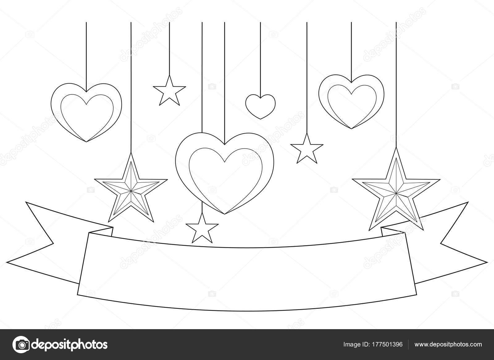 Schwarz / weiß Poster - Multifunktionsleiste, Herzen und Sterne ...