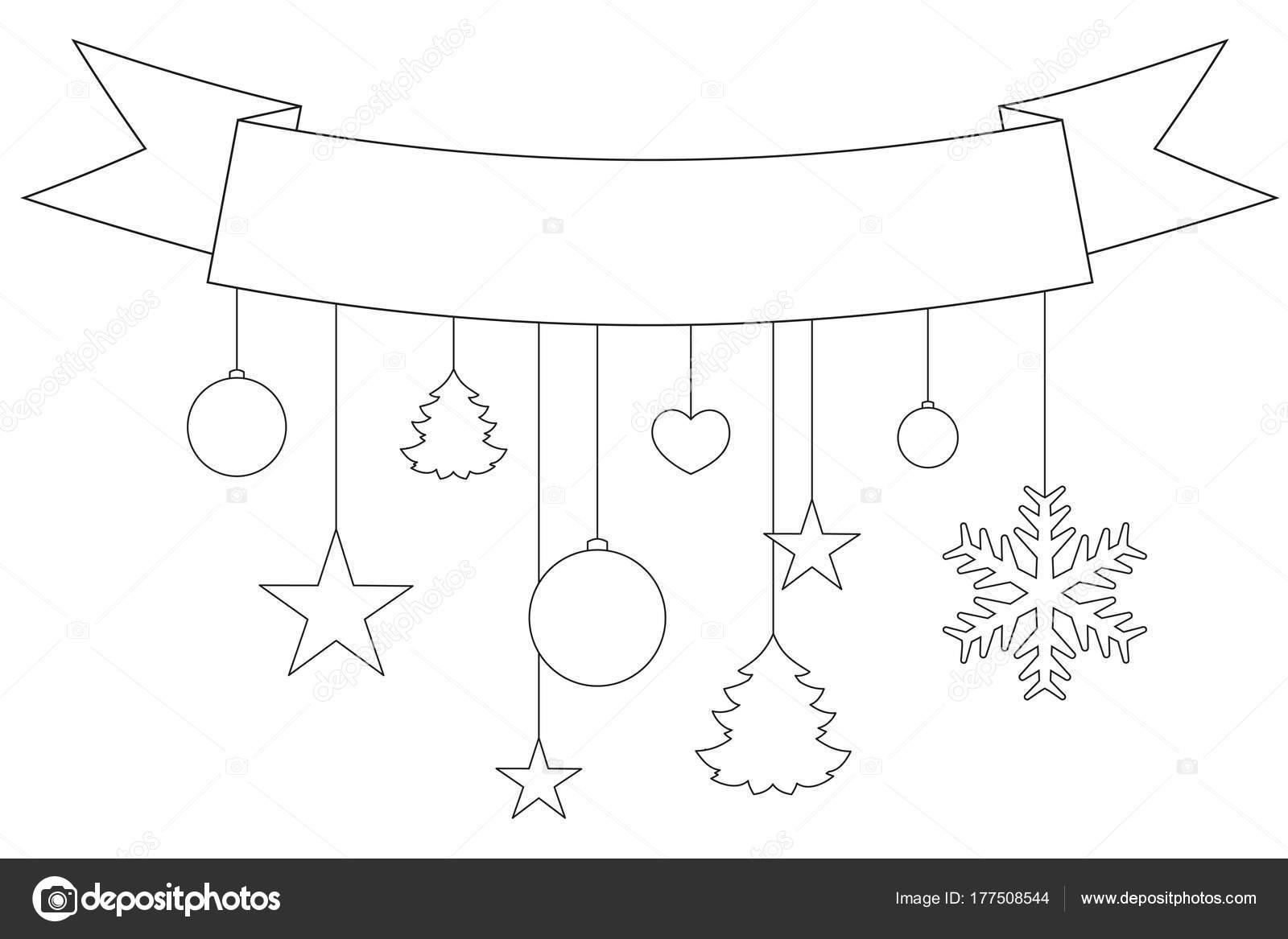 Toiles ruban flocons de neige et affiche de no l noir et blanc image vectorielle bessyana - Dessin etoile des neiges ...