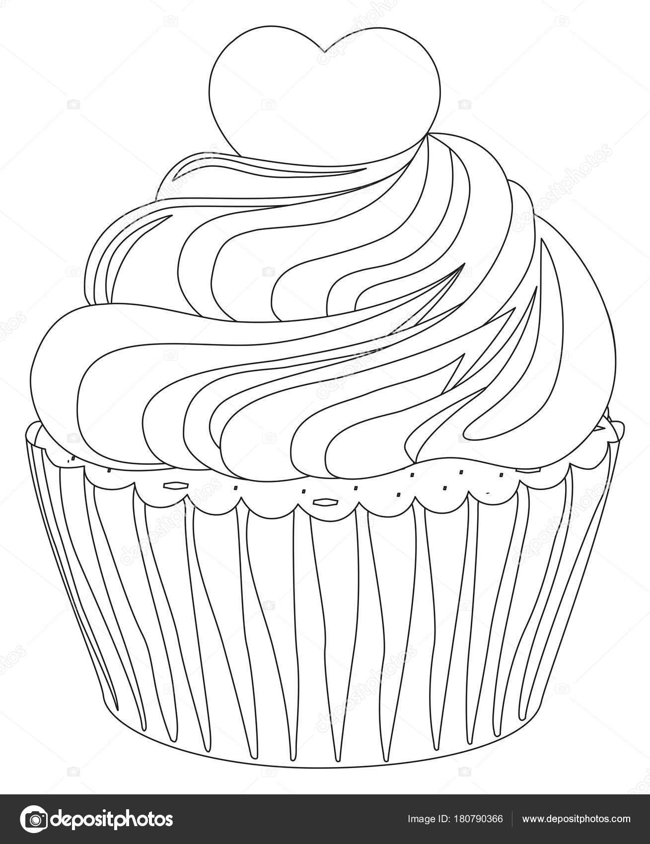 Schwarz / weiß Cupcake Plakat Herz topping — Stockvektor © bessyana ...