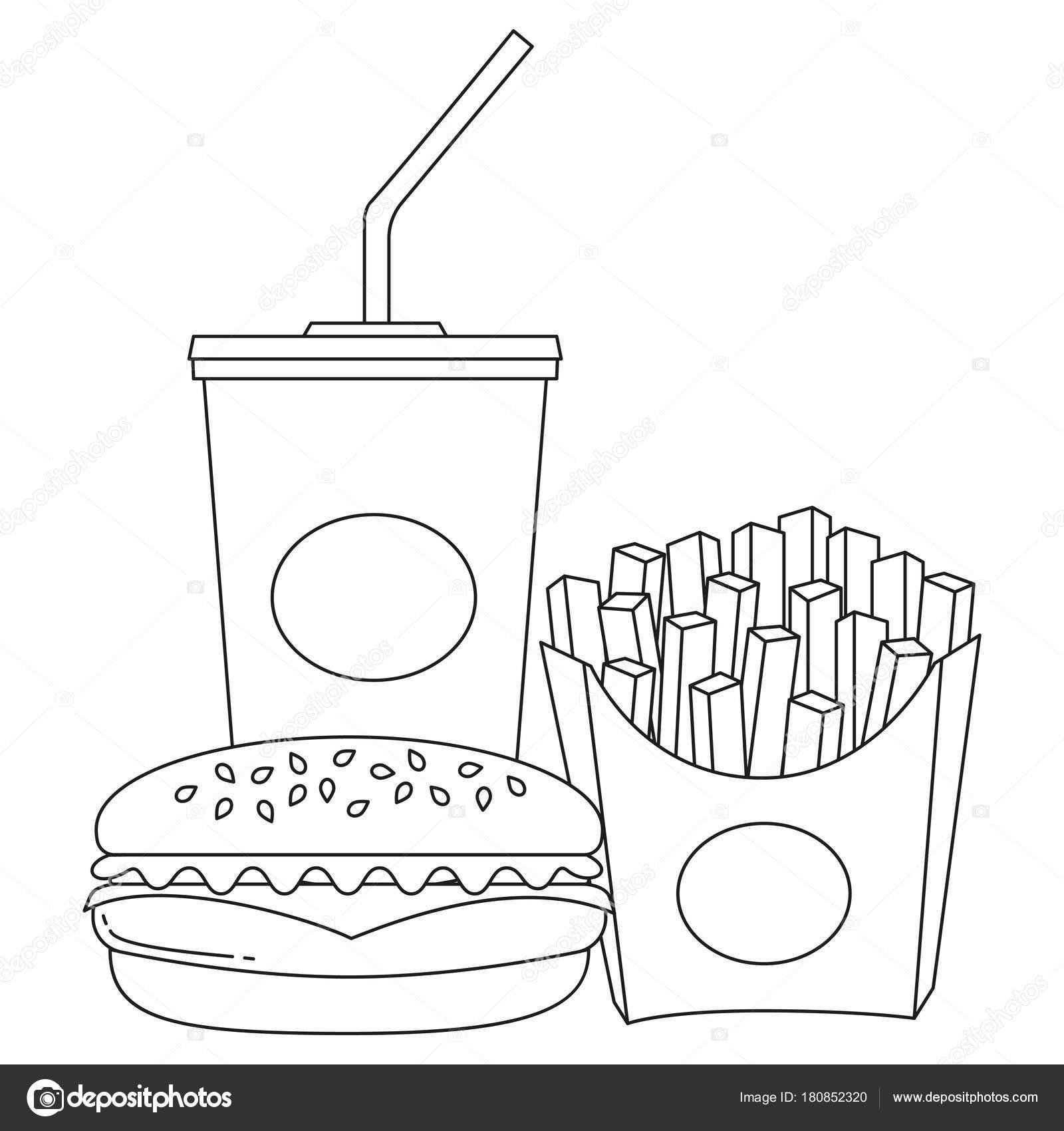 Dibujo Hamburguesa Blanco Y Negro