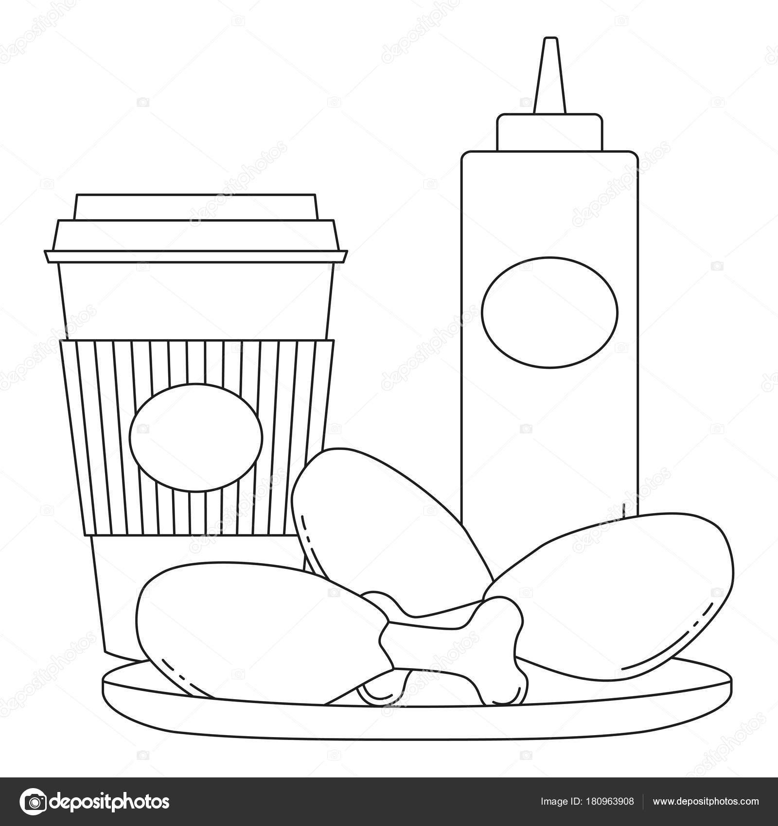 Schwarz / weiß Linie Kunst Poster Fastfood Kaffee Tee-Hühnchen mit ...