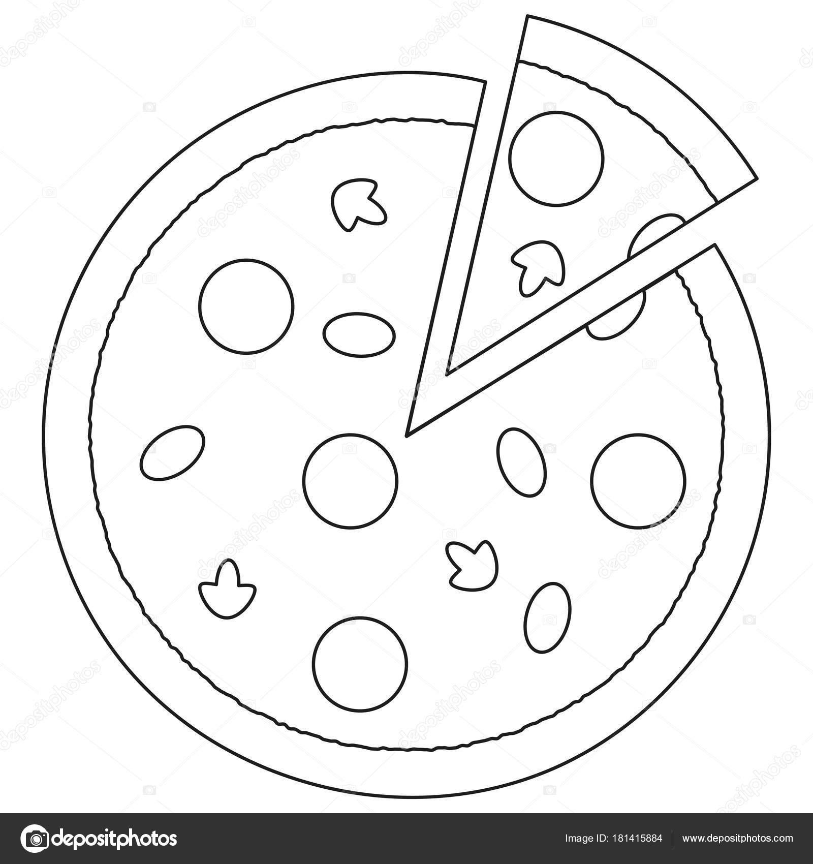 Schwarz Weiß Pizza Slice Fastfood Symbol Plakat Stockvektor