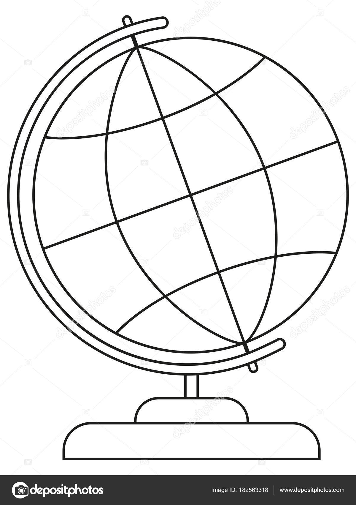 School college university line art icon poster globe. — Stock Vector ...