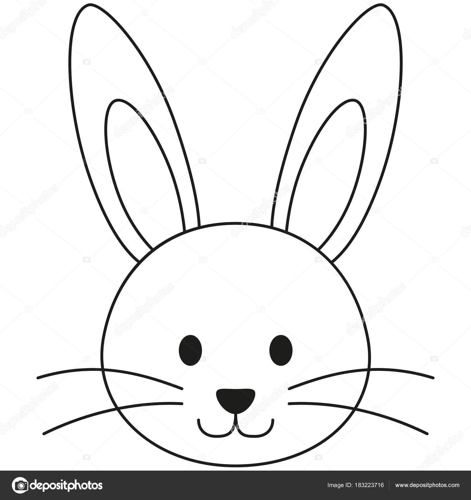Linie schwarz / weiß Kaninchen Hase Gesicht Symbol Kunstposter ...