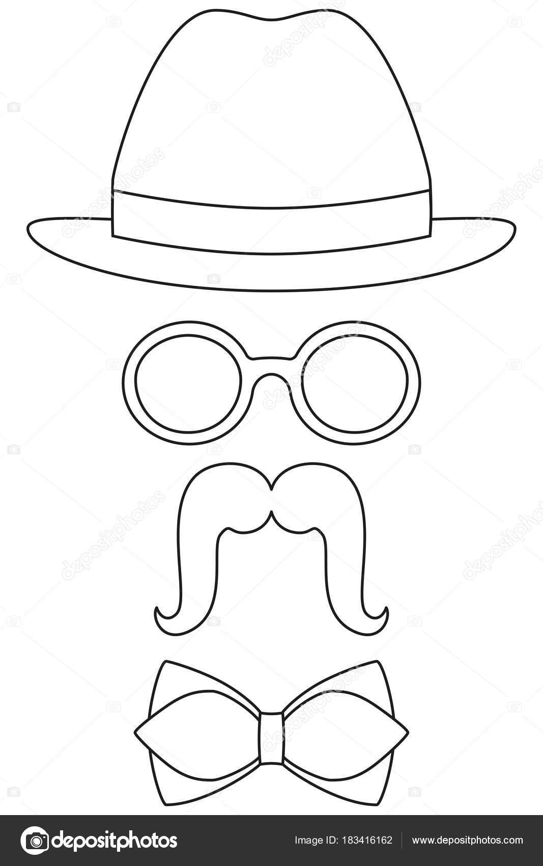 Simge Line Sanat Poster Adam Baba Baba Gün Avatar öğesi şapka Gözlük