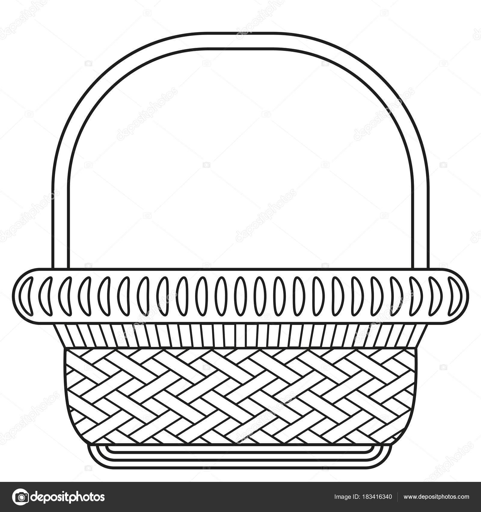 Alışveriş Sepeti Simgesi Poster Hat Sanat Siyah Beyaz Hasır Sepet