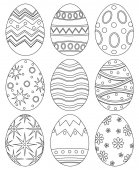 Fotografie Black and white easter egg collection set poster.