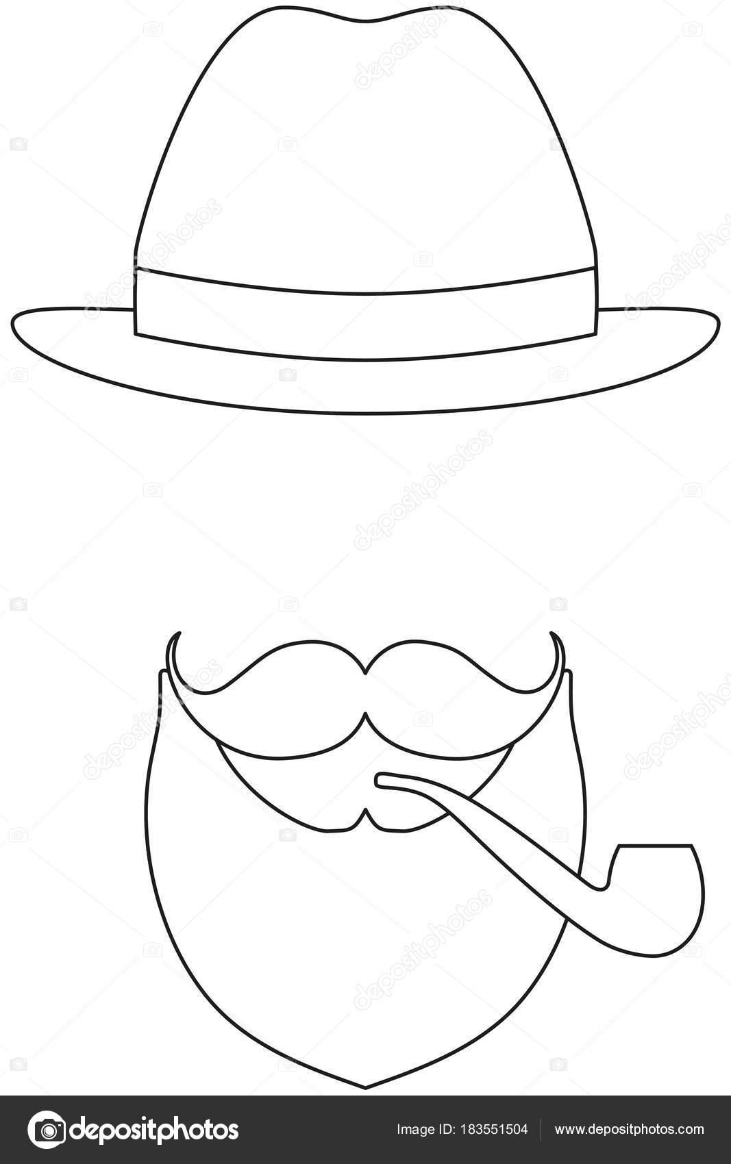 şapka Bıyık Sigara Tütün Boru Sakal Kunduz Simgesi Hat Sanat Poster