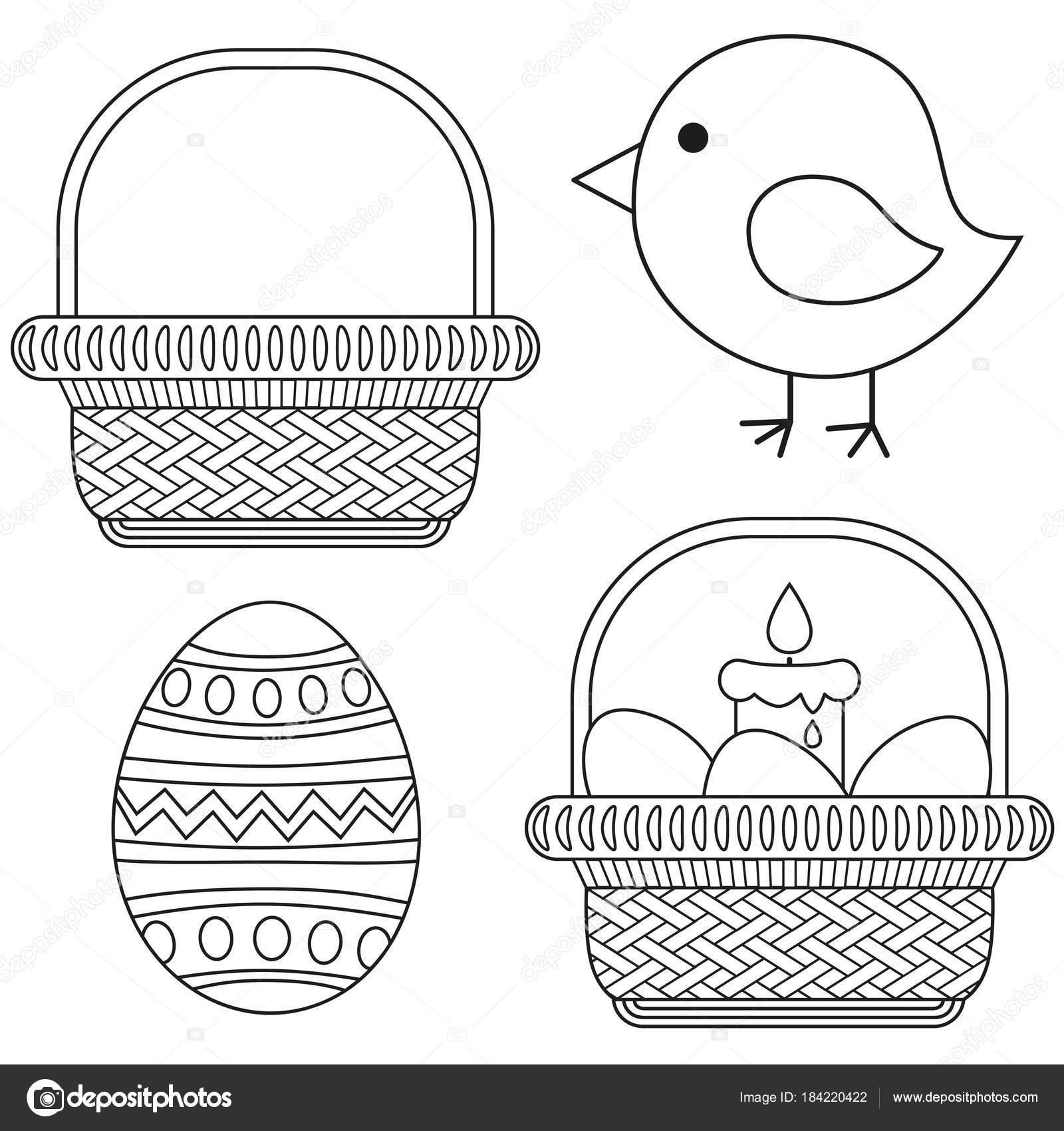 Linie Symbolsatz Art schwarze und weiße Ostern Küken-Kerze-Ei ...