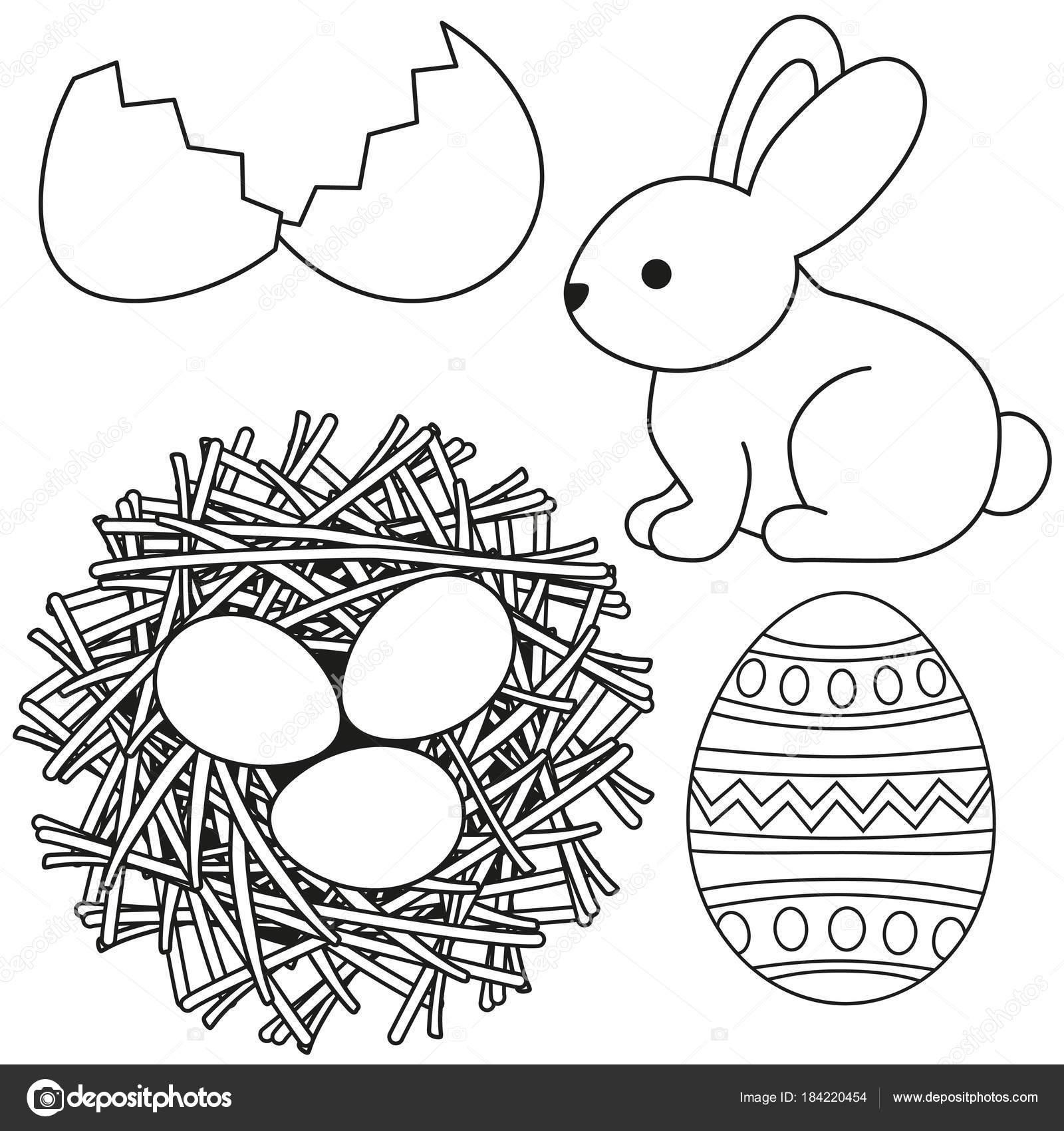 Línea arte negro y blanco Pascua icono conjunto de cáscara de huevo ...