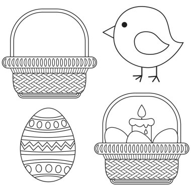 Line art black and white easter icon set chick candle egg basket icon set.