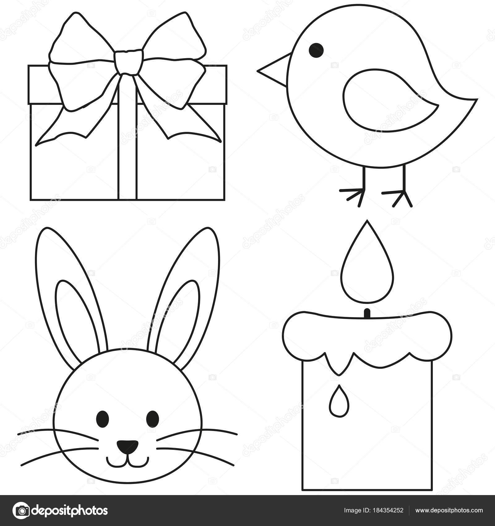 Linie Symbolsatz Art schwarze und weiße Ostern Huhn Küken Hase ...