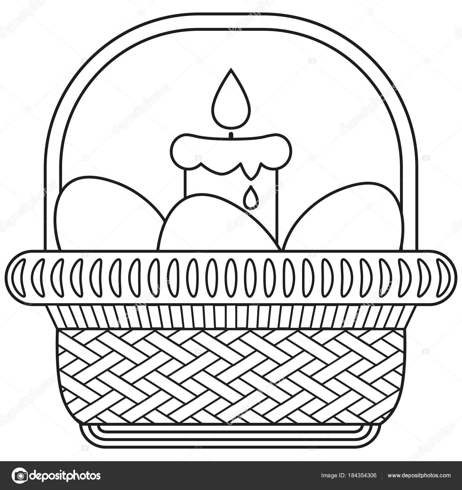 Línea arte blanco y negro huevo de Pascua vela mimbre cesta icono ...