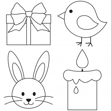 Line art black and white easter icon set chicken chick bunny face candle, gift box.