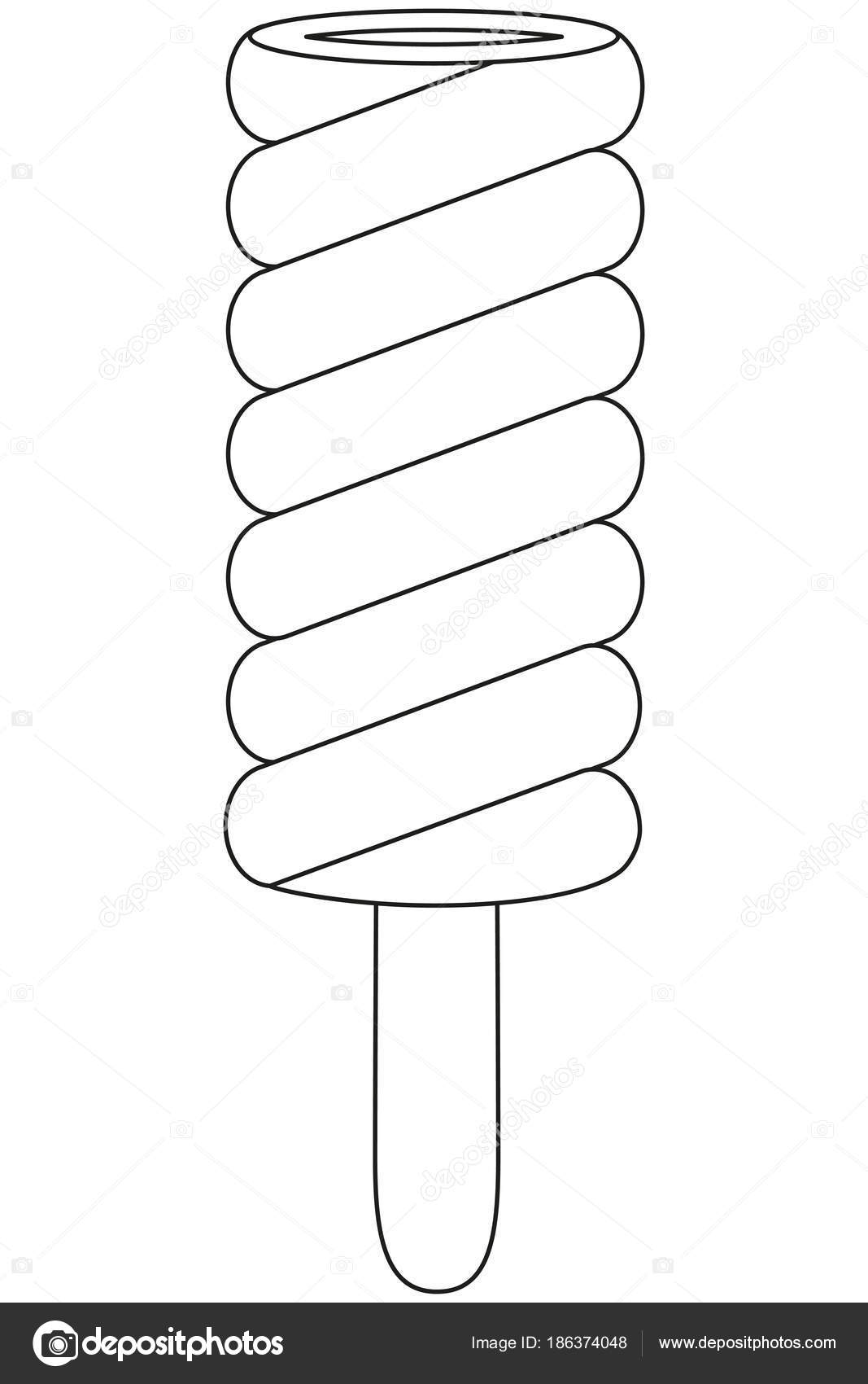 Schwarz / weiß Linie Kunst Symbol Frucht Eis Sahne Eis am Stiel ...