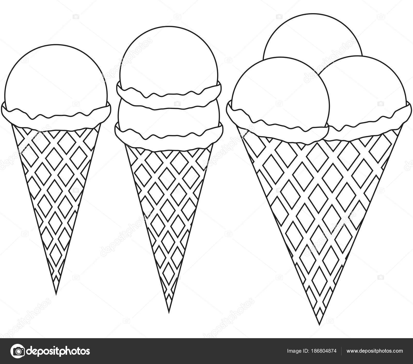 Мороженое 1 2 3 шар Конус черно-белый набор значок ...