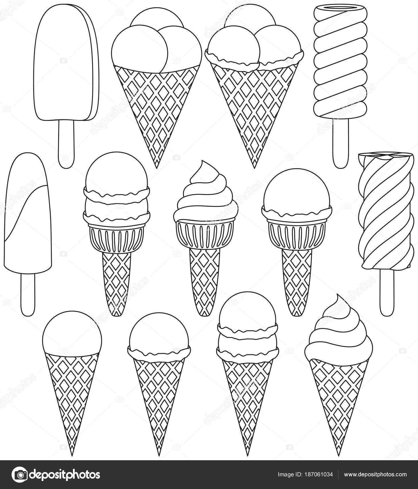 Conjunto de icono de cono de helado blanco y negro 13 elementos ...