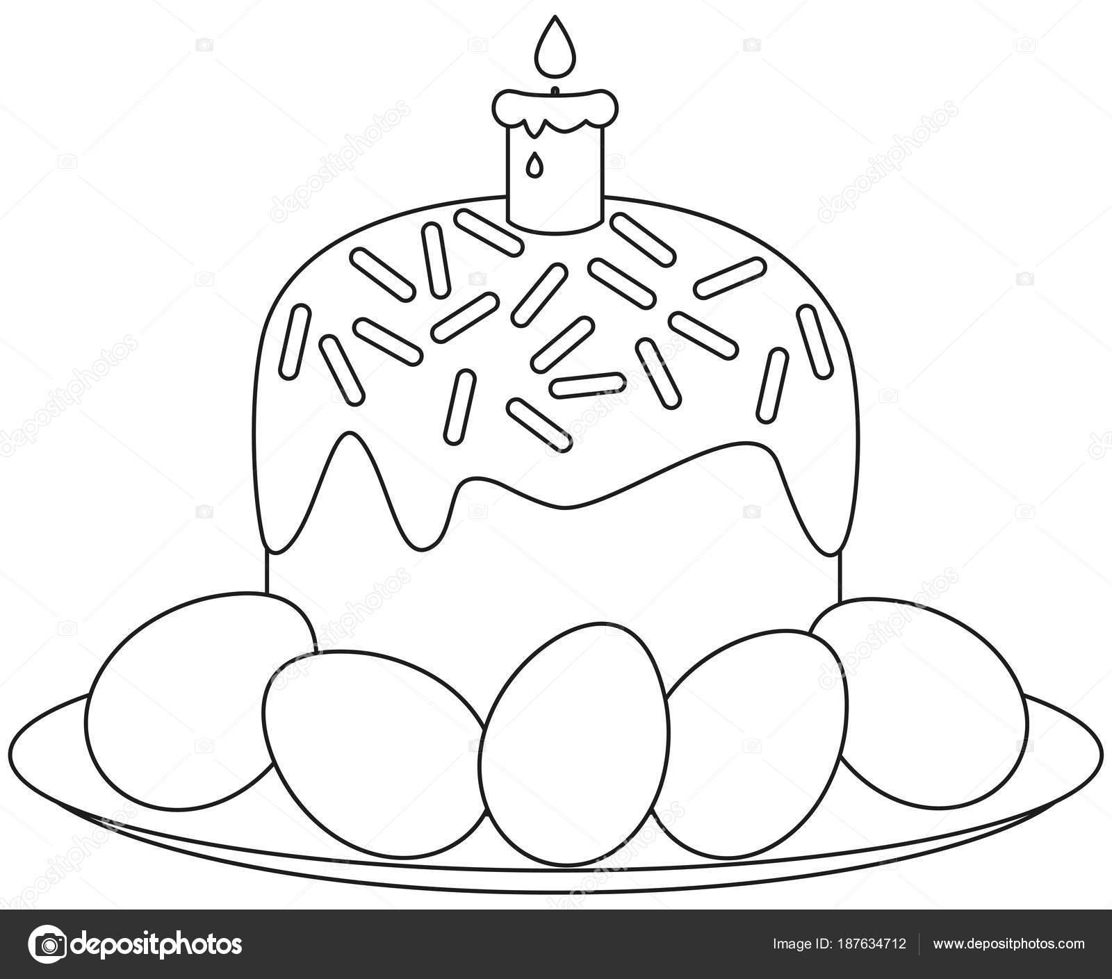 Traditionelle Kuchen Osterkerze Eiern auf Platte Symbol ...
