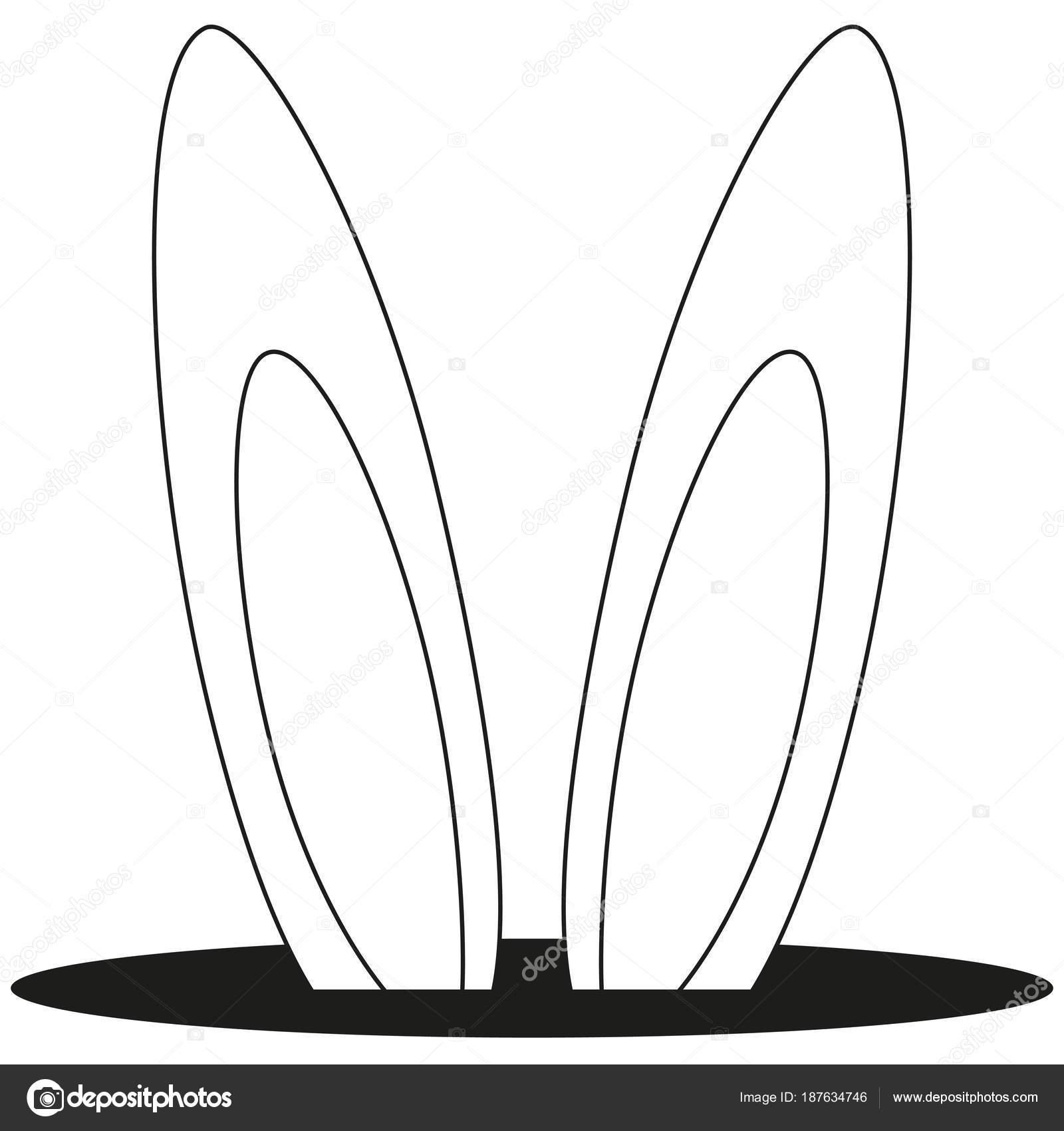 Linia sztuki i czarne uszy kr lika dziura ikona grafika for Lepre immagini da stampare