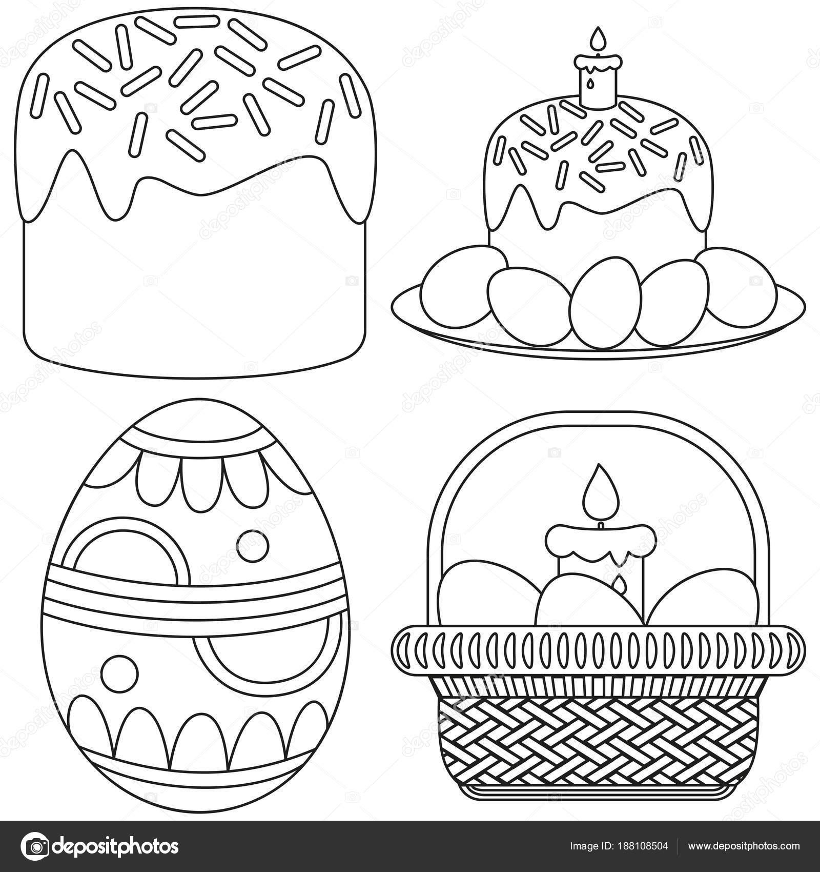 Línea arte conjunto de icono de torta de canasta de Pascua vela ...