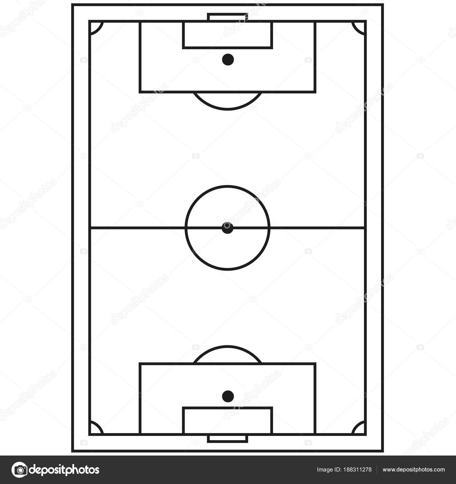 Liniensymbol Kunst Schwarz Weiss Fussball Feld Stockvektor