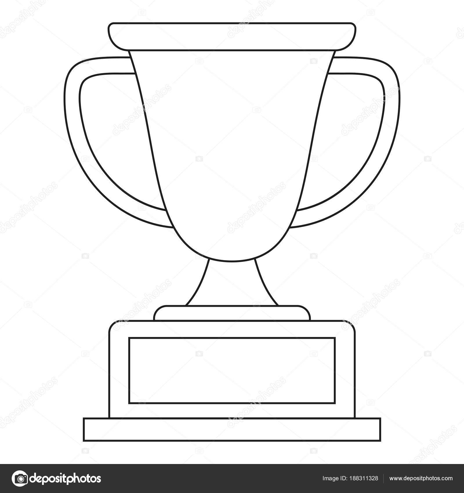 Linie Art Schwarz Weiss Sieger Pokal Symbol Stockvektor