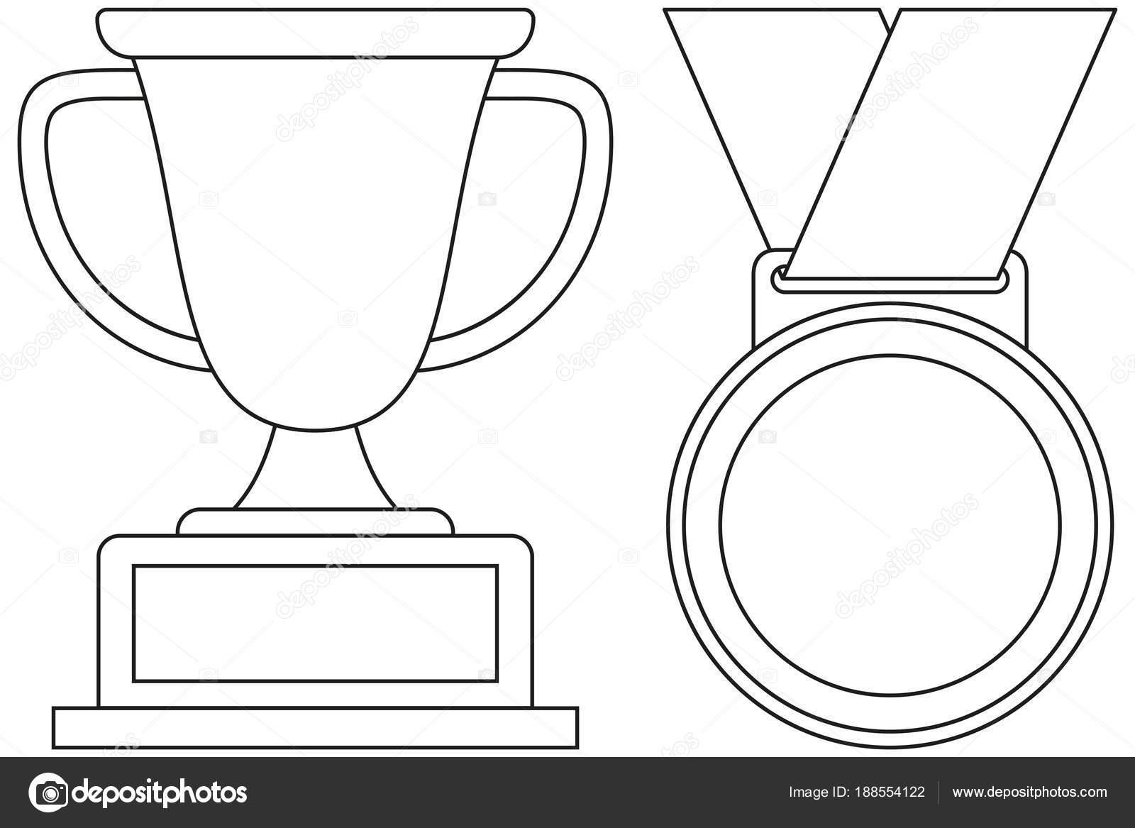 Icono de medalla de línea arte blanco y negro ganador Copa conjunto ...
