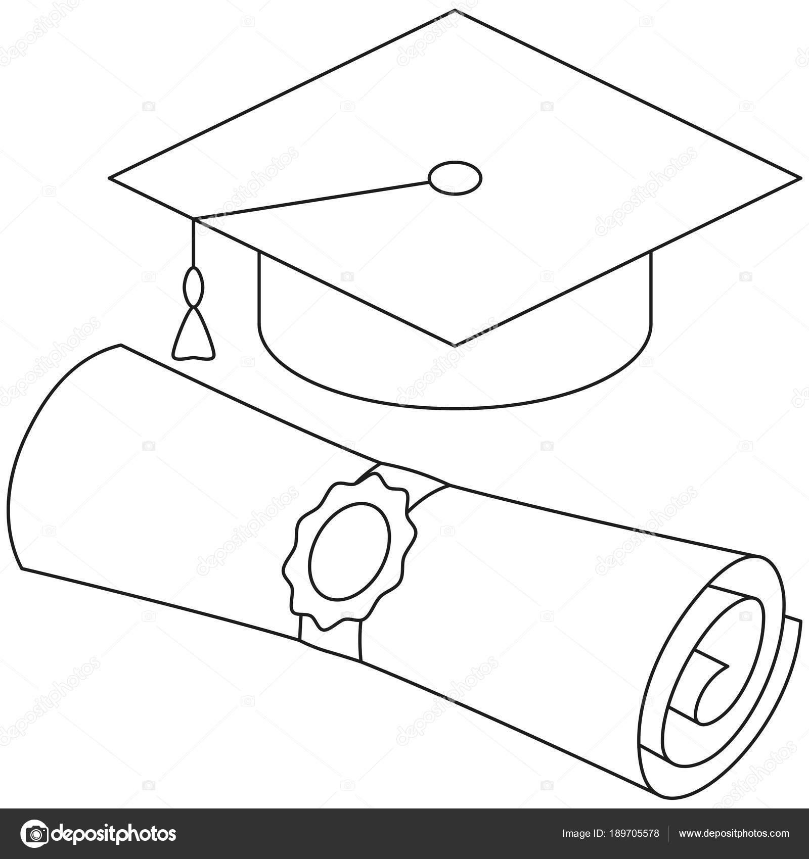 Sombrero de graduación de desplazamiento de línea arte diploma blanco y  negro conjunto. Ilustración de vector de tema de graduación para el  certificado de ... c6c7f9a4a85
