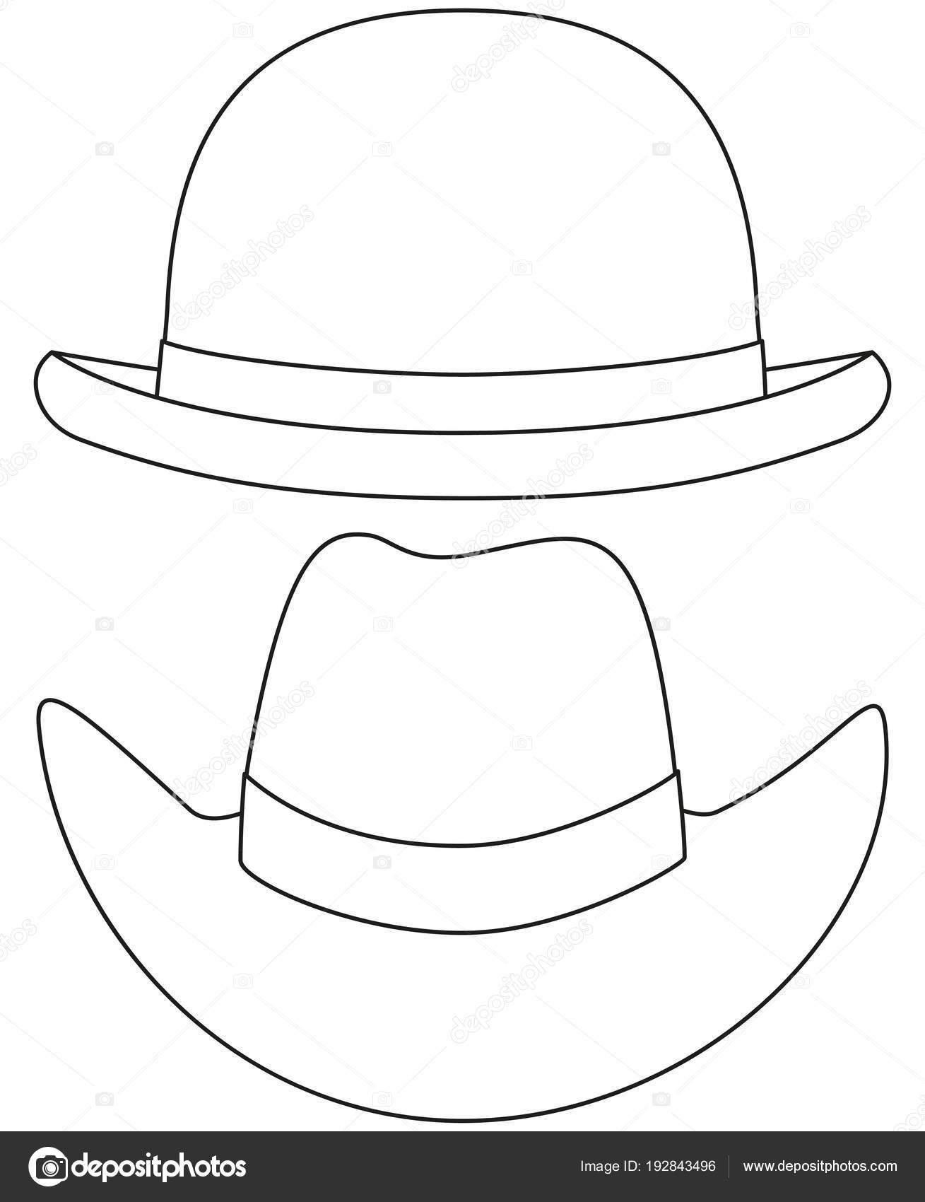 Conjunto de sombrero de vaquero de jugador de bolos de arte blanco y negro  de la línea. Hipster temática vector ilustración para etiqueta de  certificado de ... 9f14c2abb1b