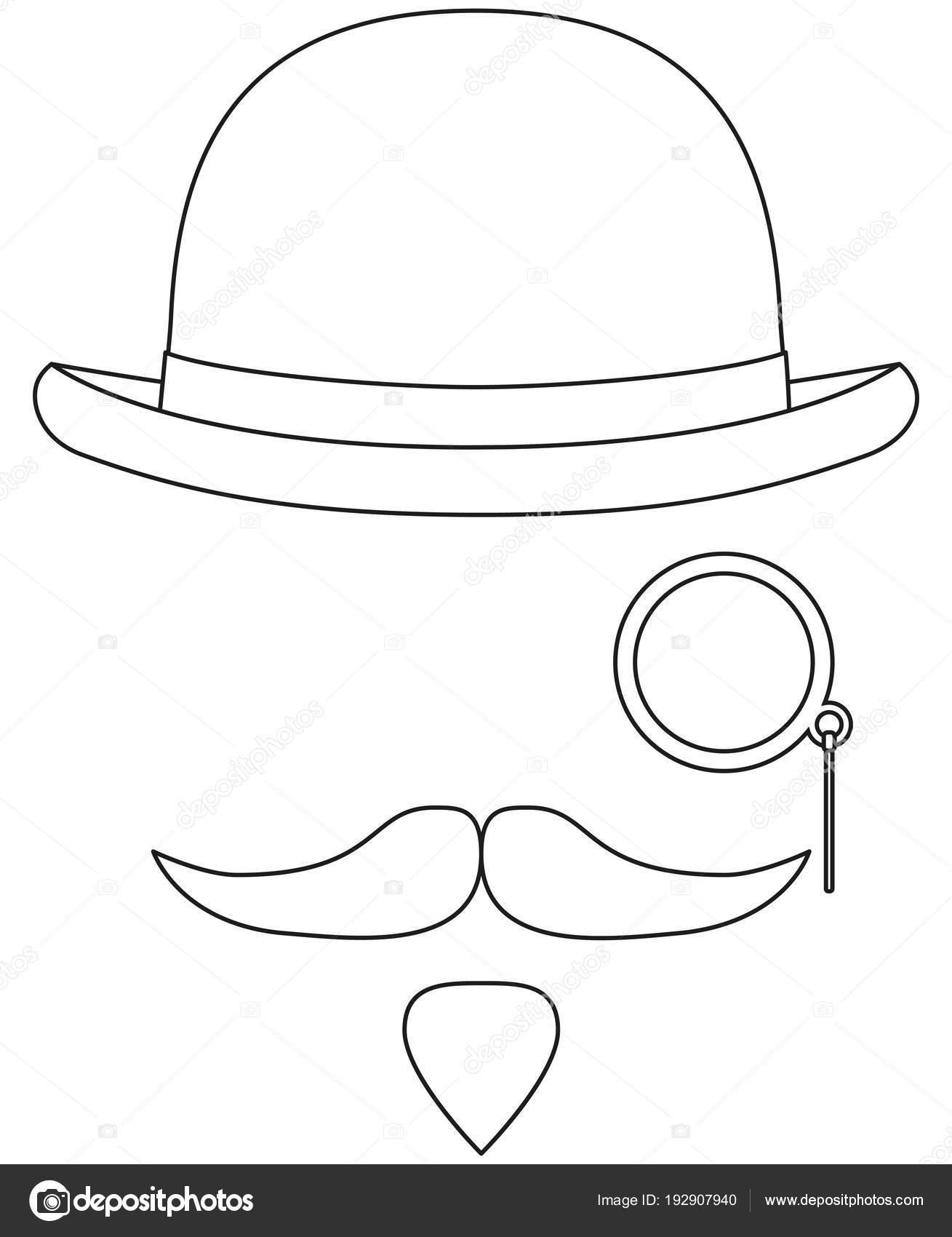 Elementos de avatar arte hipster blanco y negro de la línea — Vector ... 6223ab2c6b8