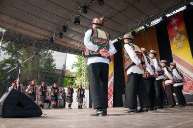 Hutsuly in folk costumes at the international folk festival.