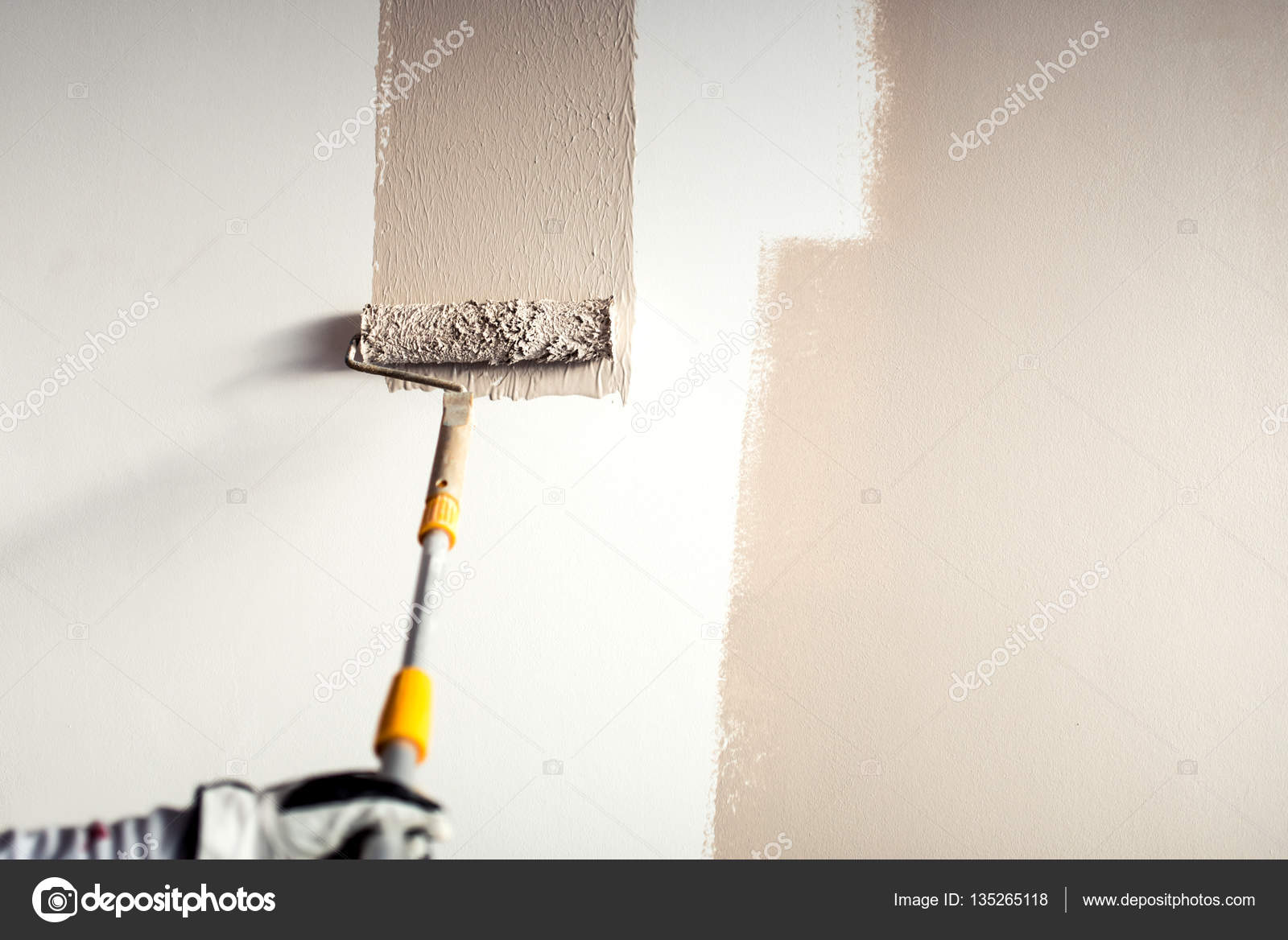 Attractive Professional Worker Plastering A Wall, Painting With Paint Brush Decoration  On Interior Walls U2014 Stock