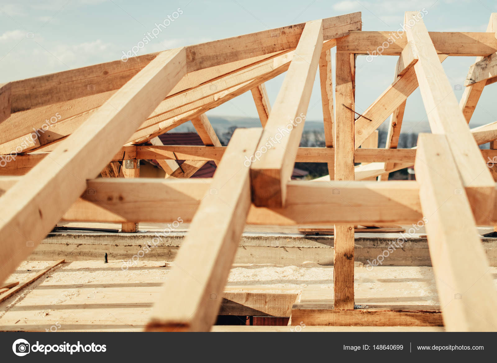 Estructura madera techo del material para techos del - Estructuras casas de madera ...