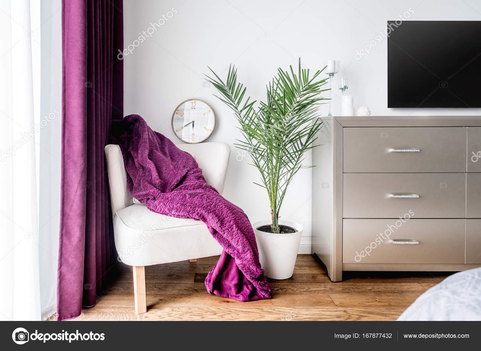 Poltrona, coperta viola e un orologio da parete come decorazione in ...