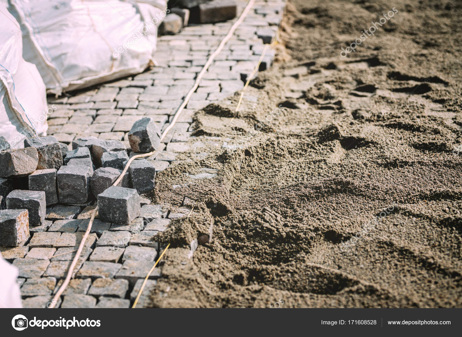 Bau Von Pflaster Weg Strasse Oder Gehweg Mit Kopfsteinpflaster