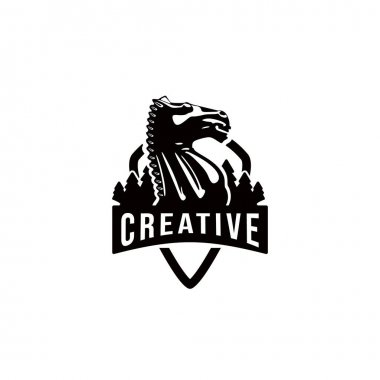 creative knight horse. chess with pine logo Ideas. Inspiration l