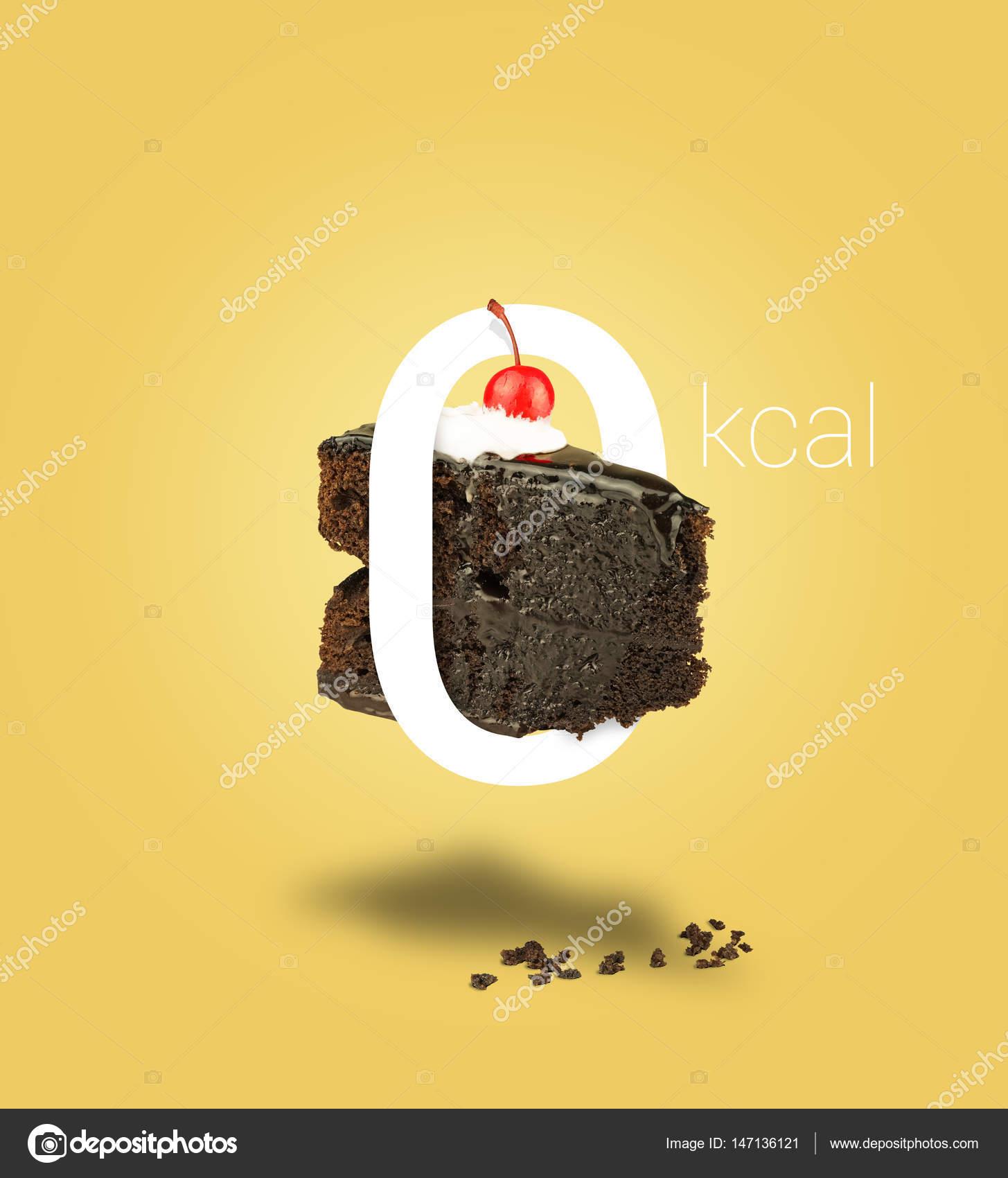 Null Kalorien Schokolade Kuchen Auf Gelbem Hintergrund Isoliert