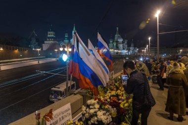 February 25, 2018, RUSSIA, MOSCOW. Memorial to Boris Nemtsov in the center of Moscow, Bolshoy Moskovretsky Bridge, Russia.